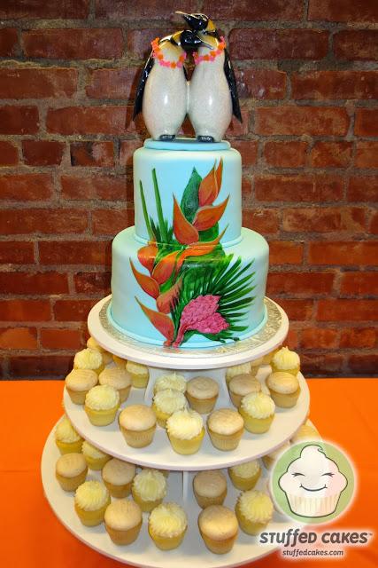 Stuffed Cakes Hawaiian Penguins Wedding Cake