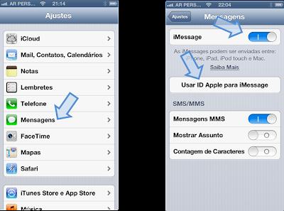 Configuração do Apple iMessage Passo 1