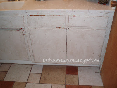 lipstick and laundry chalk paint on my bathroom cabinets