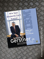 "Beauty shot picture of book by Louis Gerstner, ""Who Says Elephants Can't Dance?"" ""How I Turned Around IBM"""