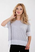 Bluza din jerse cu dungi alb cu gri B220 (Ama Fashion)