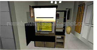 partisi dua sisi minimalis multifungsi dengan rak tv dan tempat dispenser