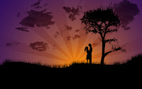 couple in sunset wallpaper