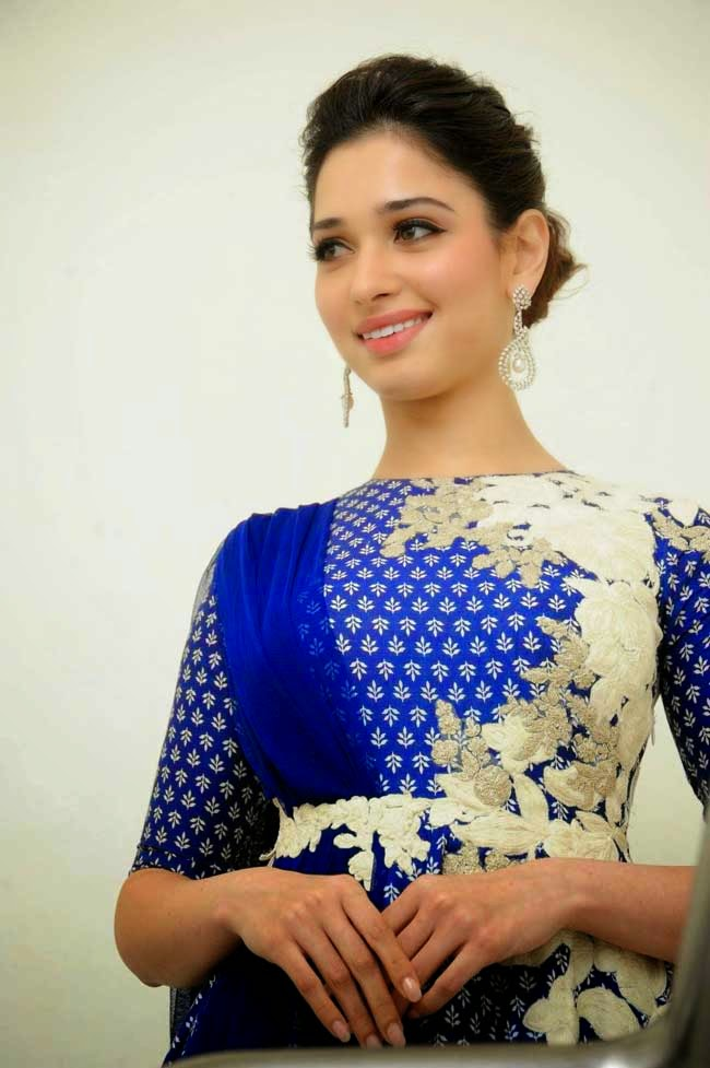 Actress Tamanna Bhatia in Blue Anarkali Dress