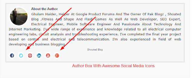 Author Box Widget With Awesome Social Media Icons For Blogger Blog