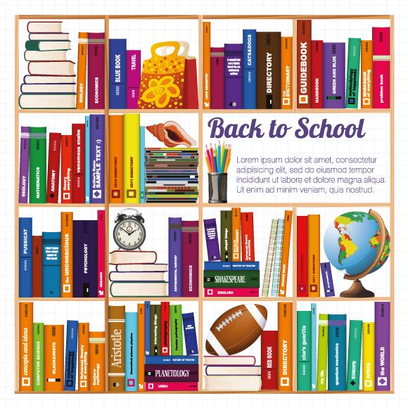 Estantes con libros y material de estudio - Vector