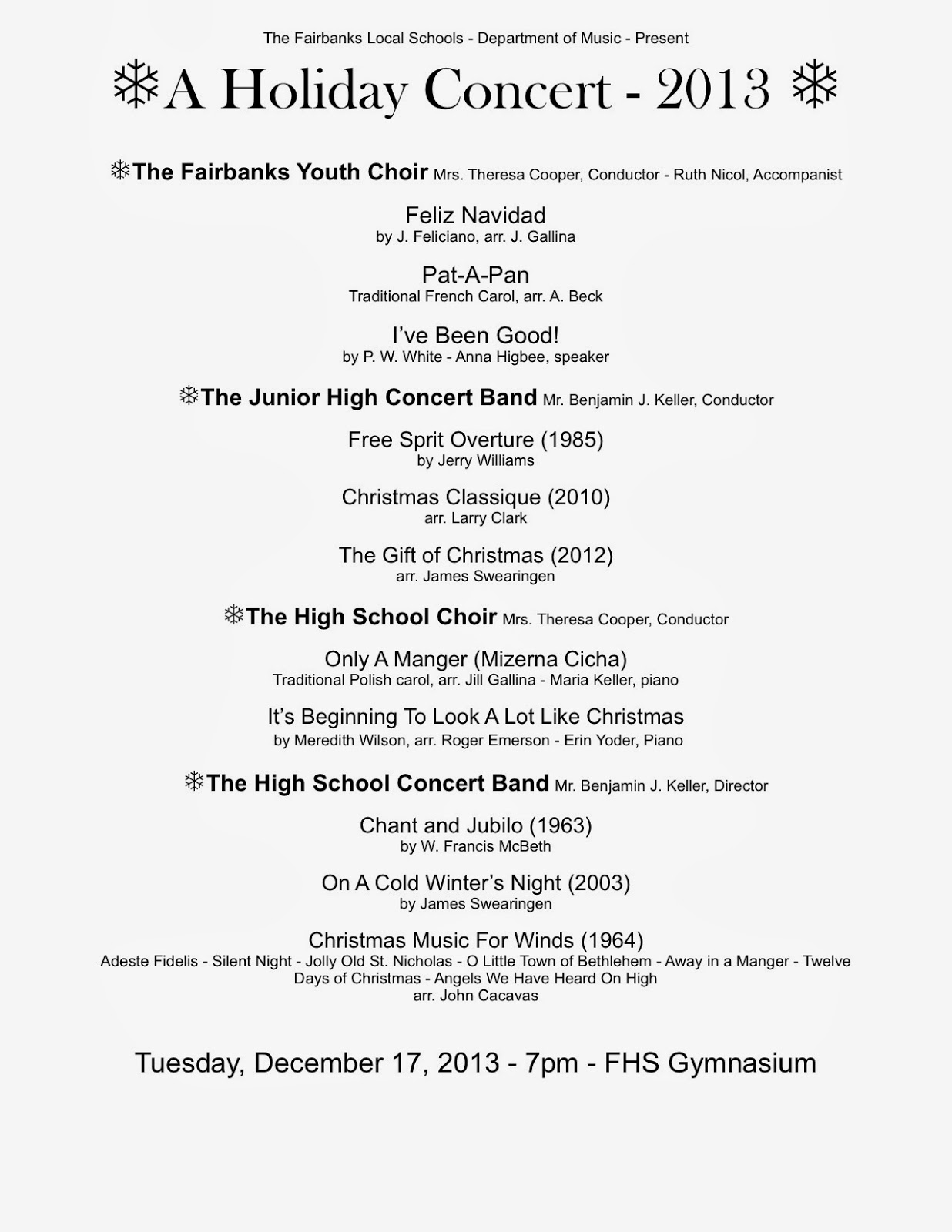 Holiday Concert Program 2013 – Concert Program