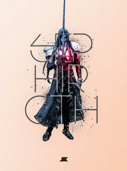 Josip Kelava typographic illustrations super heroes villains comics games movies Sephiroth - Final Fantasy VII