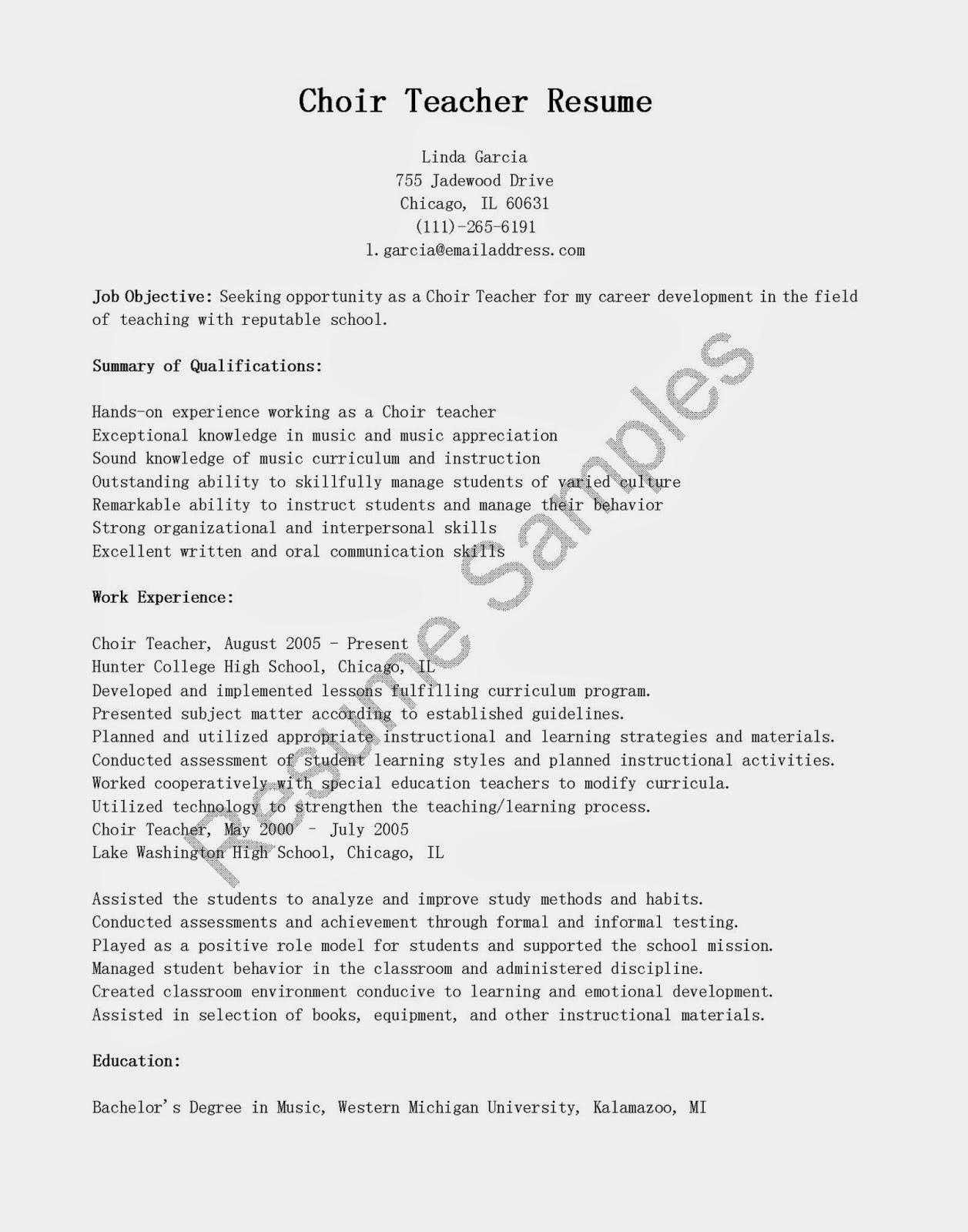 resume samples  choir teacher resume sample