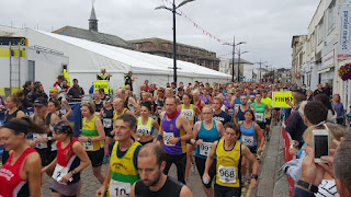 Runners leaving the start line on the Truro Half Marathon