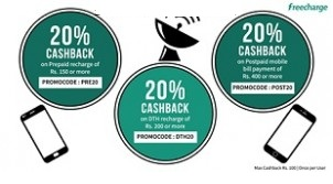 Recharges & Bill Payments 20% Cashback – FreeCharge