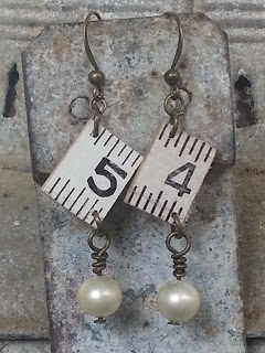 assemblage earrings vintage ruler and pearls