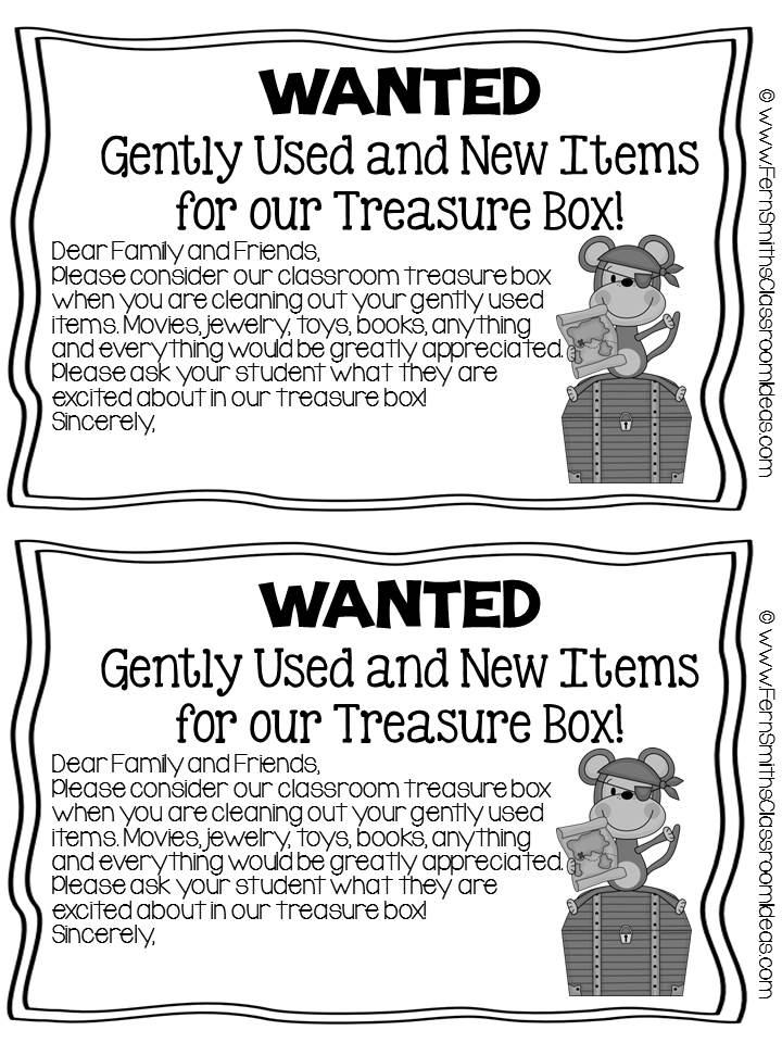 Fern Smith's FREE Parent Letter For Treasure Box Items