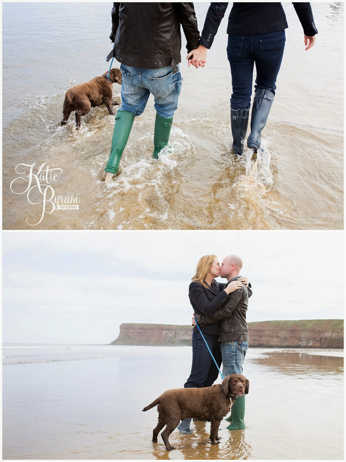 saltburn wedding, saltburn beach, saltburn engagement shoot, pre-wedding shoot with dog, couple on beach, katie byram photography, north yorkshire wedding, saltburn spa hotel, raithwaite hall