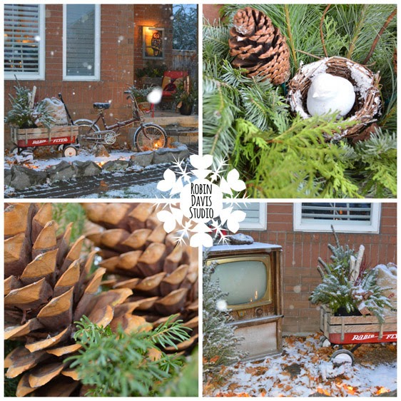 love Christmas - natural elements with vintage bike & 1950 TV | Robin Davis Studio