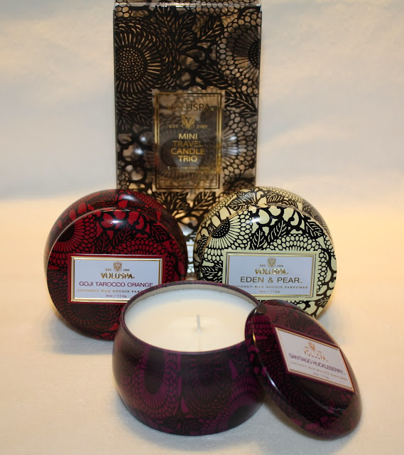 Voluspa Mini Travel Candle Trio: Goji Tarocco Orange, Eden & Pear, Santiago Huckleberry