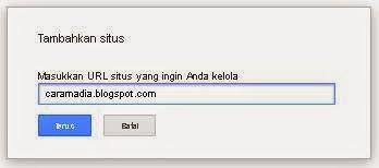 sebelum submit sitemap harus tambahkan url