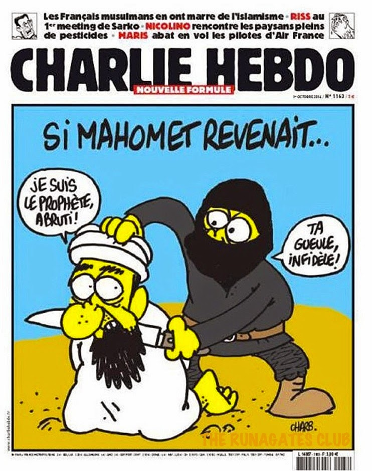 CHARLIE HEBDO cover page - ISIS headhunter slays the ptophet