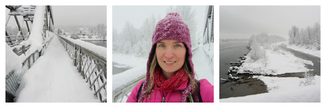 3 pictures showing snowy conditions over a bridge, woman in pink winter wear and snowy river