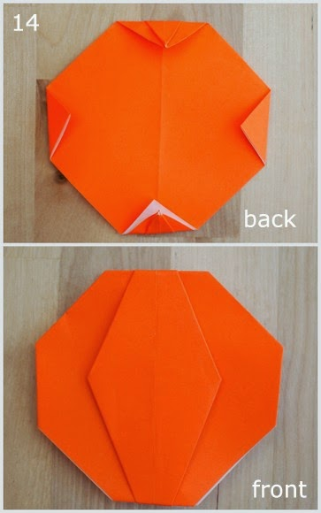 steps 14  showing how to fold an origami pumpkin