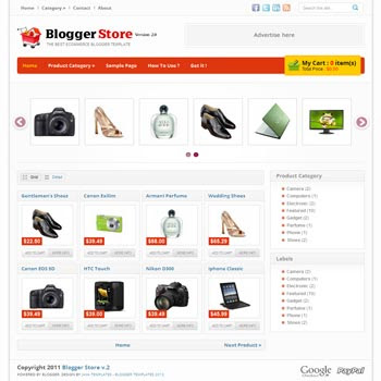 Blogger Store V.2 blog template. blogger template for shopping online store blog. template blogespot online store