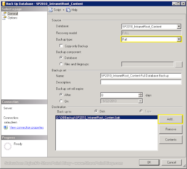 backup SharePoint content database in SQL Server Management Studio