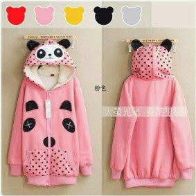 Jaket dan Sweater Wanita Bahan Fleece FJ Volkadot Bear Series