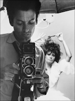 Avedon with his twin lens reflex camera.