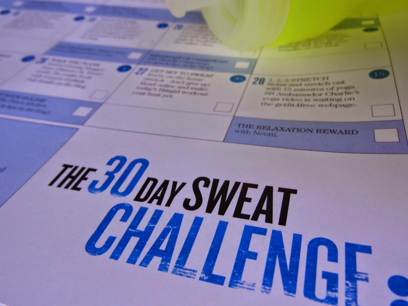 Sweaty Betty GF4F 30 Day Sweat Challenge Calendar