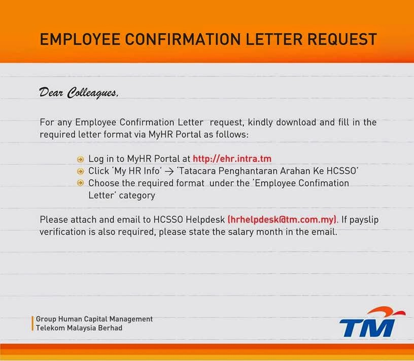 Employee Confirmation Letter Request 2014 UniFi Specialist by TM