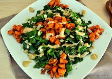 Υπέροχη σαλάτα με σπανάκι, ψητή γλυκοπατάτα κ σως ταχινιού-Spinach sweet potato salad with tahini s