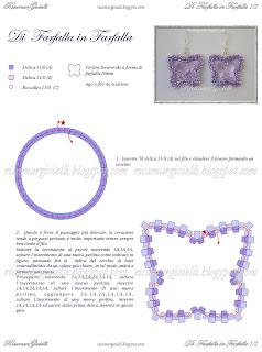 schema e spiegazioni orecchini a forma di farfalla realizzati in peyote