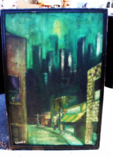 Pasadena Rose Bowl Flea Market - Mid-Century Modern Oil Painting
