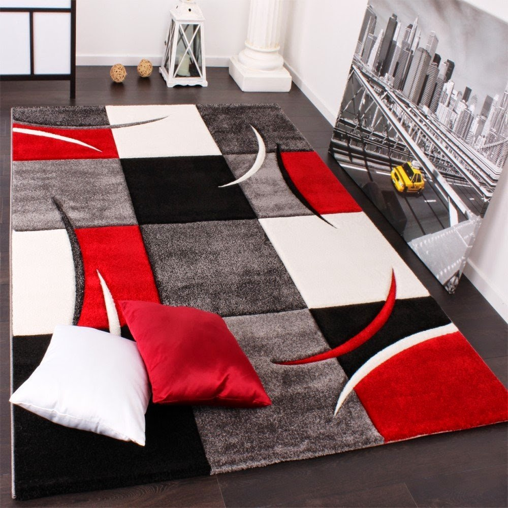 Tapis de salon pas cher contemporain et design bonnes for Tapis salon rouge