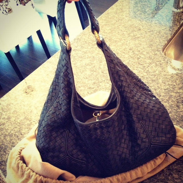 Bottega Veneta Black Ball bag, woven bag, designer bag, black bag, handle detail, fashion, style, consignment, Ann's fabulous finds, dust bag