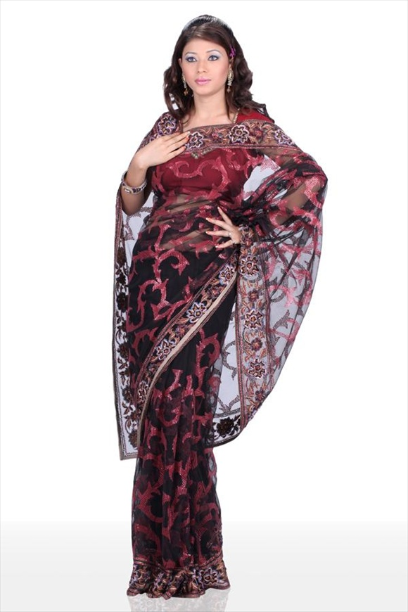 Black Net Saree indian