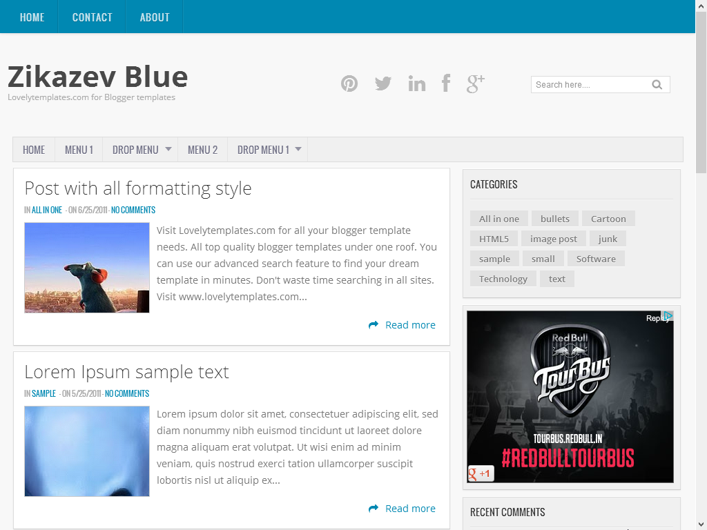 Zikazev Blue Free Responsive Blogger Template