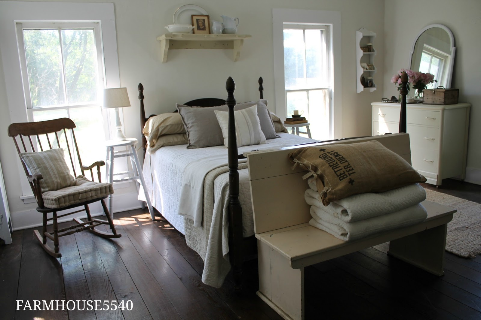 Farmhouse 5540 guest bedroom reveal for Bedroom bed designs images