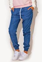 Pantaloni moderni, casual, de culoare albastra ( )