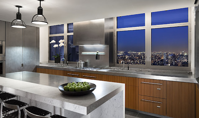 Photo of modern kitchen at night