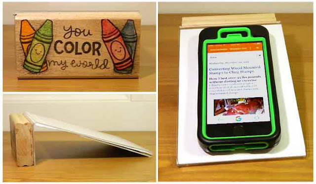Unmounted stamp blocks become Phone/note holders - Katemade Designs ©2016