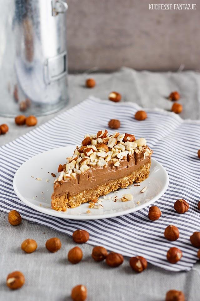 czekoladowy, sernik na zimno, z orzechami, przepis, bez pieczenia, łatwy, prosty, deser