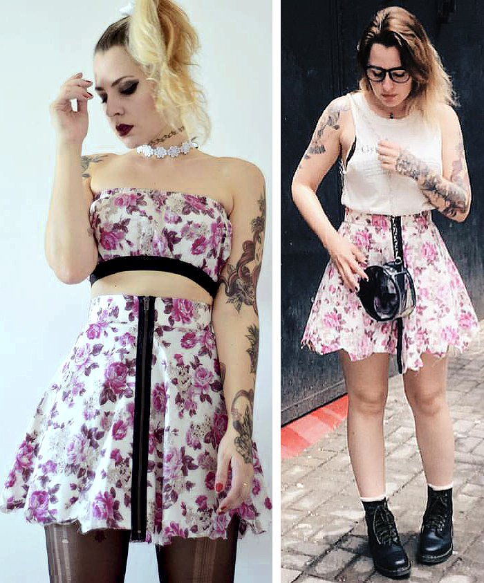 saia floral rosa