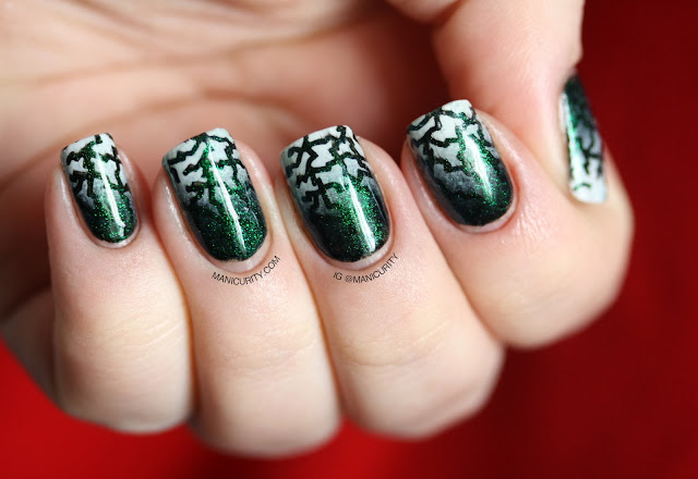 Manicurity | The Digit-al Dozen Does Black & White: Electric Heartbreaker - Stamped Gradient Nail Art with Pure Ice's Heart Breaker