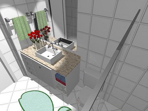 Ambientes & Ideias Banheiros -> Banheiro Decorado Com Ceramica Preta