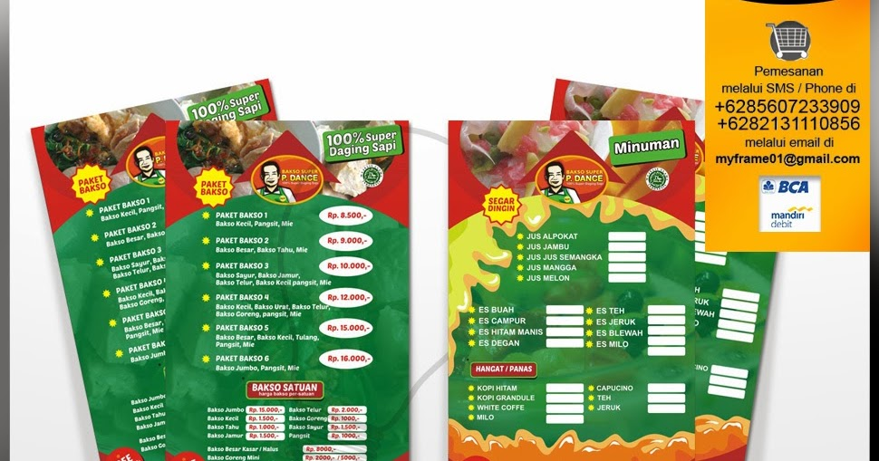 Jasa desain daftar menu makananjasa desain kemasan produk