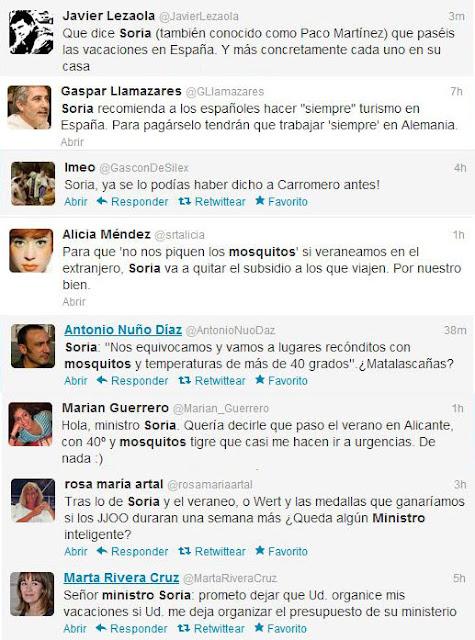 Reacciones a las declaraciones del ministro Soria sobre mosquitos