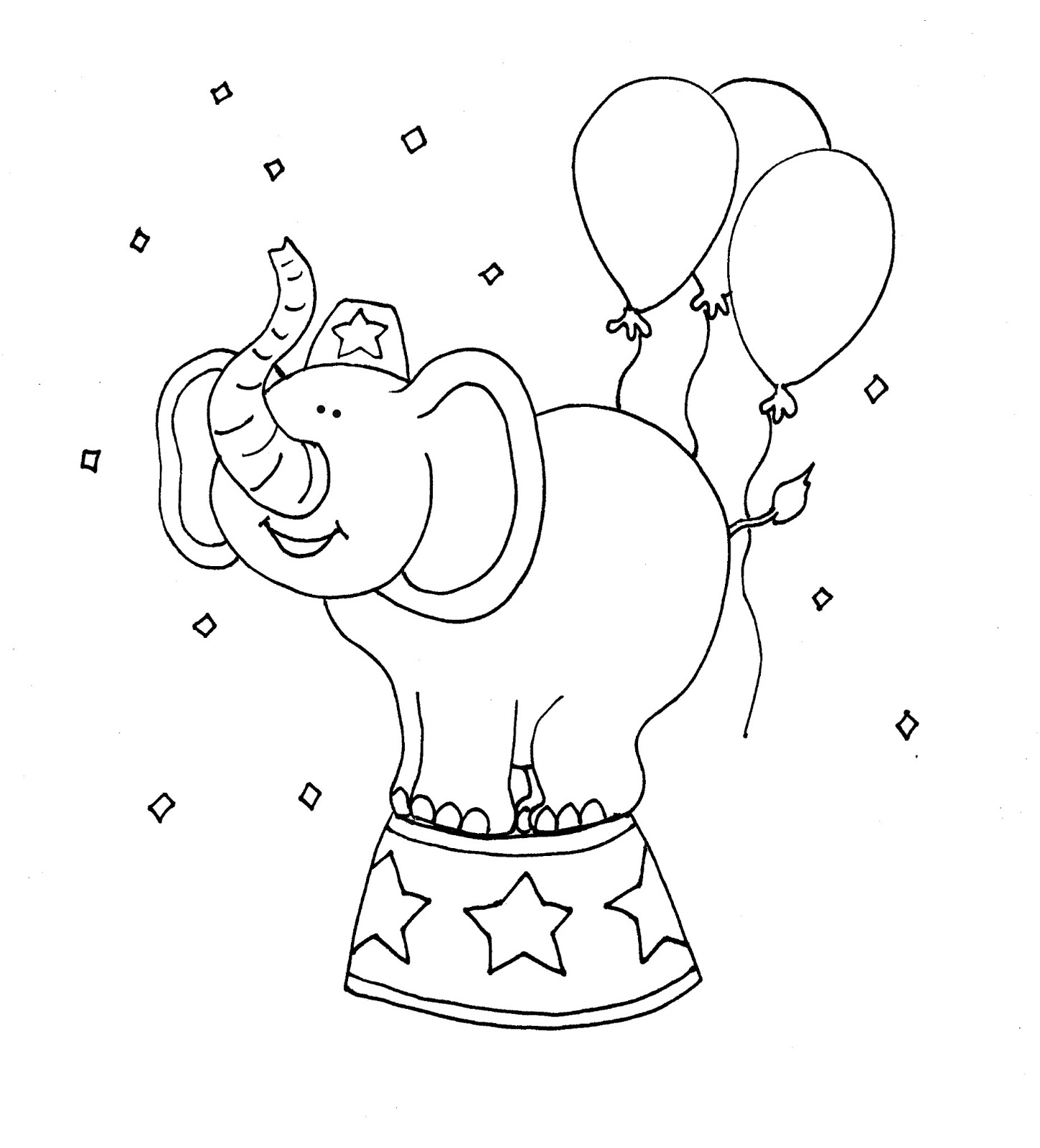 free dearie dolls digi stamps circus elephant color and b w