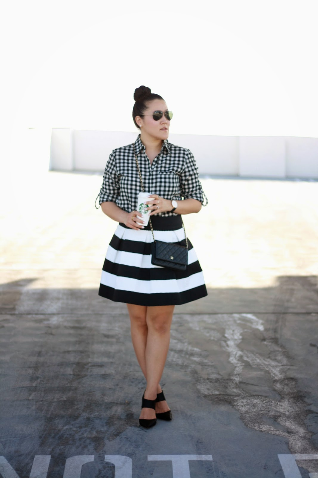 simplyxclassic, jcrew gingham top, striped skirt, chanel wallet on a chain, woc, jessica simpson pumps, orange county, blogger, fashion blogger, mommy blogger