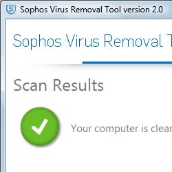 capture d'écran de Sophos Virus Removal Tool